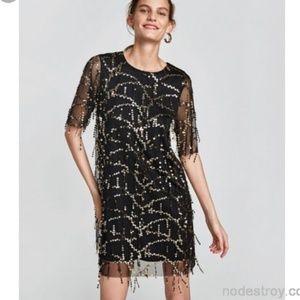 Zara Dresses Tassel Sequin Black Sheer Party Dance Dress